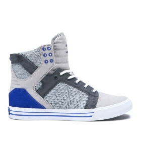 Supra Womens SKYTOP Lt Grey/Royal/white High Top Shoes | CA-34985
